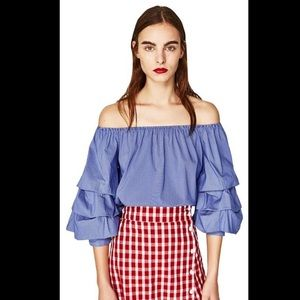 ZARA off-the-shoulder shirt with ruffled sleeves